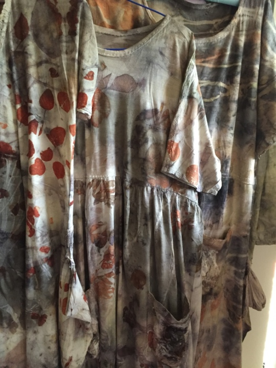 trio of hand-stitched and naturally dyed:printed dresses